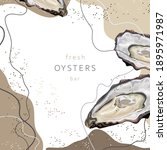 Stylized Fresh Oysters On An...