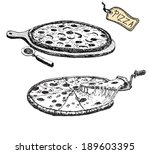 pizza. hand drawn illustration. | Shutterstock . vector #189603395