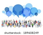 large group of multiethnic... | Shutterstock . vector #189608249