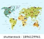 Habitat Animals On World Map...