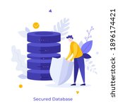 man holding shield and server... | Shutterstock .eps vector #1896174421