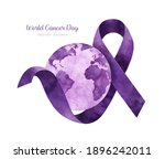 World Cancer Day. Lilac Ribbon...