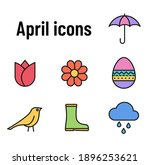april color flat icons with...