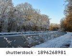 Alsace  France. Frozen Canal...