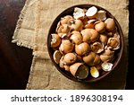 Eggshells In A Bowl On A...