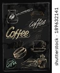 vector chalk coffee set on... | Shutterstock .eps vector #189632141