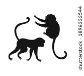 Cartoon Monkey Silhouette...