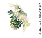 bouquet with tropical leaves ... | Shutterstock . vector #1896336547