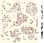 six cutest happy mermaids.... | Shutterstock .eps vector #189634097