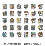 set of files and documents thin ... | Shutterstock .eps vector #1896370027