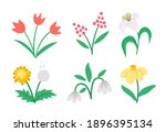 Vector Cute Flat Spring Flowers ...