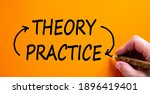 Small photo of Theory and practice cycle symbol. Hand writing 'Theory and Practice cycle', isolated on beautiful orange background. Business and theory and practice cycle concept. Copy space.