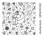 depression doodle. man is... | Shutterstock .eps vector #1896453181