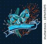 vector floral illustration of a ... | Shutterstock .eps vector #189645695