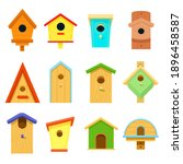 Wooden Multi Colored Birdhouses ...