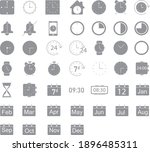 time and clock line icons....