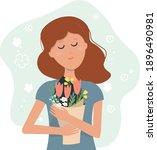 dreamy girl  woman  mother...   Shutterstock .eps vector #1896490981