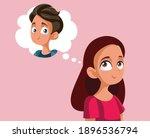 teen girl feeling in love... | Shutterstock .eps vector #1896536794