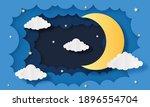 night sky. moon  stars and... | Shutterstock .eps vector #1896554704