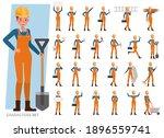 set of builder woman wear... | Shutterstock .eps vector #1896559741