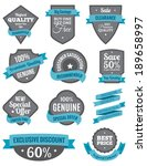 badges and ribbons turquoise two | Shutterstock .eps vector #189658997