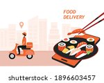 food delivery service and...   Shutterstock .eps vector #1896603457