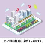 isometric city with public... | Shutterstock .eps vector #1896610051