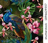 embroidery peacocks and orchid...   Shutterstock .eps vector #1896629557