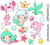 set of mermaid icons in kawaii... | Shutterstock .eps vector #1896634111