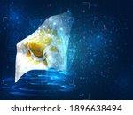 sun vector 3d flag on blue...   Shutterstock .eps vector #1896638494