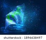 planet earth vector 3d flag on...   Shutterstock .eps vector #1896638497