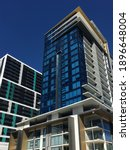 Small photo of PERTH, WA - JAN 17 2021:Apartment buildings in Perth CBD. Perth property price falling 7.5 per cent for 2020, the highest drop of the nation, with Melbourne following close behind at 7.3 per cent.