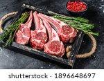 Raw Lamb Meat Chops Steaks In A ...