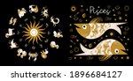 zodiac sign pisces. horoscope... | Shutterstock .eps vector #1896684127