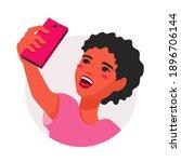 a teenage girl taking a selfie... | Shutterstock .eps vector #1896706144