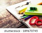 school supplies on wooden... | Shutterstock . vector #189670745