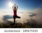 young woman exercises yoga in... | Shutterstock . vector #189675335