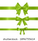 green ribbon bow set isolated... | Shutterstock .eps vector #1896755614