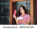 unhappy girlfriend receiving a... | Shutterstock . vector #1896783154