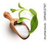 wooden spoon of white sugar and ... | Shutterstock . vector #1896813787