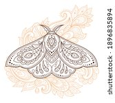 moth decorated with indian... | Shutterstock .eps vector #1896835894