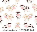 cute cow seamless pattern....   Shutterstock .eps vector #1896842164