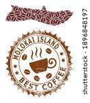 Coffee Mosaic Map Of Molokai...