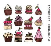 set of hand drawn cakes ... | Shutterstock .eps vector #189686321