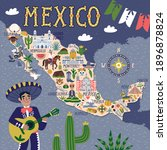 vector stylized map of mexico.... | Shutterstock .eps vector #1896878824