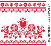 romantic floral folk art vector ... | Shutterstock .eps vector #1896892687
