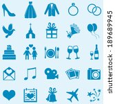 vector set of 25 blue  wedding... | Shutterstock .eps vector #189689945