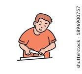 Cooking Man Cartoon Character...