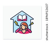 stress at home color line icon. ... | Shutterstock .eps vector #1896912637