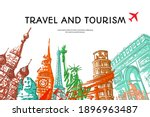 travel to world with famous... | Shutterstock .eps vector #1896963487
